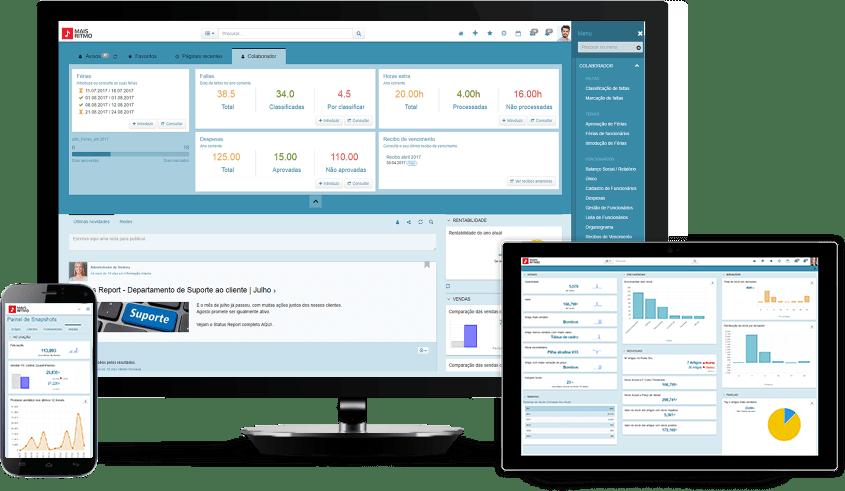 Screenshots de utilização do software de gestão PHC CS em diferentes dispositivos