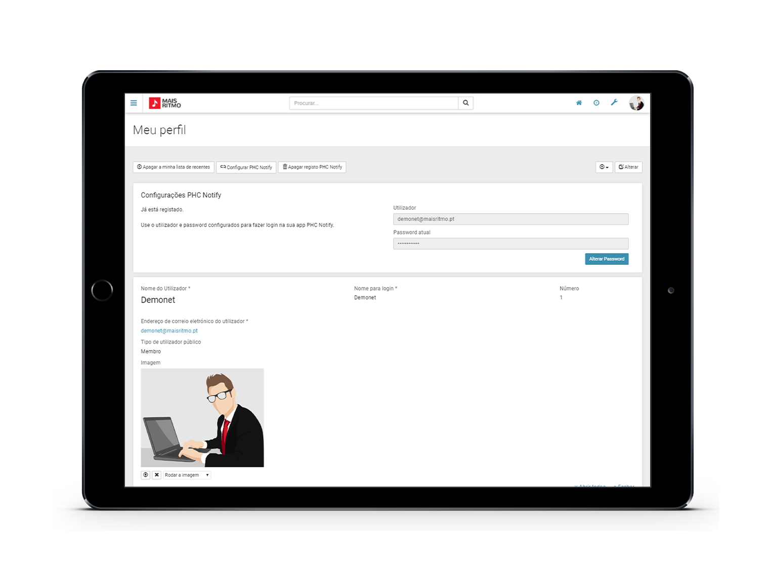 Printscreen PHC CS Extranet Web Configuração PHC Notify Tablet