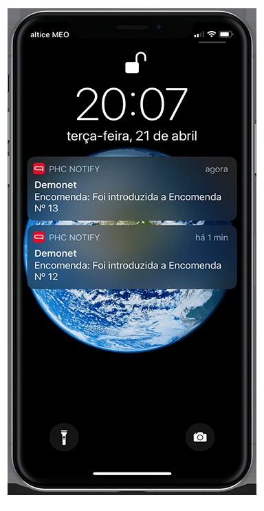 Printscreen de uma notificação da app PHC Notify em mobile